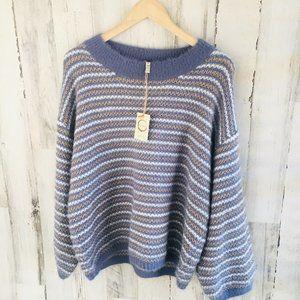 RAGA Beach Club Pullover Sweater Blue Metallic